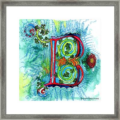 Illuminated Letter B Framed Print by Genevieve Esson