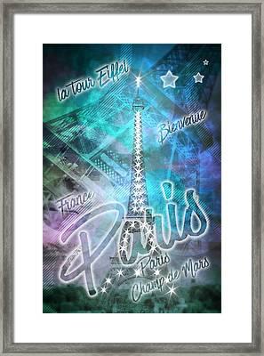 Illuminated Pop Art Eiffel Tower Graphic Style Framed Print by Melanie Viola