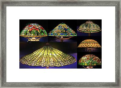 Illuminated Tiffany Lamps - A Collage Framed Print
