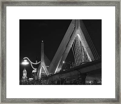 Illuminating Boston Black And White Framed Print