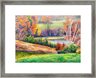 Framed Print featuring the painting Illuminating Colors Of Fall by Lee Nixon