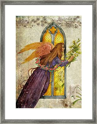 Illustrated Angel And Lily Framed Print