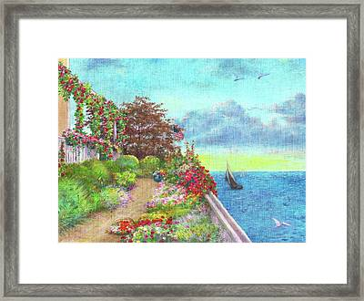Framed Print featuring the painting Illustrated Beach Cottage Water's Edge by Judith Cheng