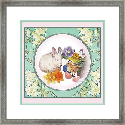 Illustrated Bunny With Easter Floral Framed Print