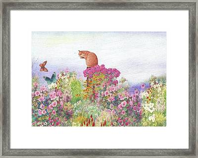 Illustrated Cat In Garden Framed Print
