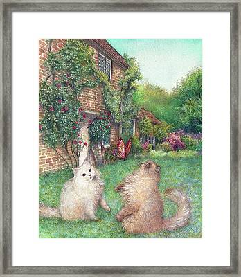 Illustrated Cats In English Cottage Garden Framed Print