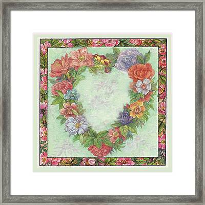 Illustrated Heart Wreath Framed Print