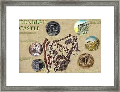 Illustrated Map Of Denbigh Castle 1611 Ad Framed Print by Martin Williams