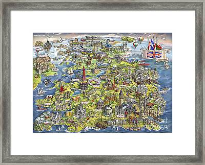Illustrated Map Of The United Kingdom Framed Print by Maria Rabinky