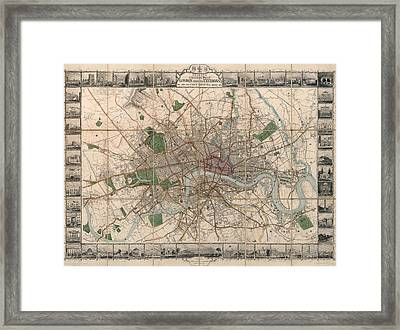 Illustrated Plan Of London And Its Environs - Map Of London - Historic Map - Antique Map Of London Framed Print