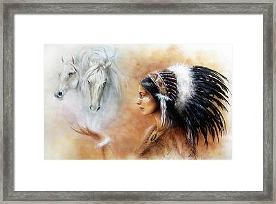 illustration Glamour Fashion Woman Portrait with white horses Framed Print