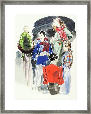 Illustration Of A Group Of Models Framed Print