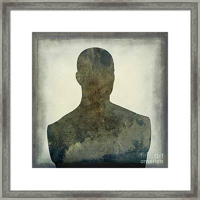 Illustration Of A Human Bust. Silhouette Framed Print by Bernard Jaubert