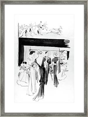 Illustration Of A Man And Women At The Plaza Framed Print