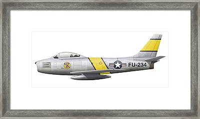 Illustration Of A North American F-86f Framed Print by Chris Sandham-Bailey