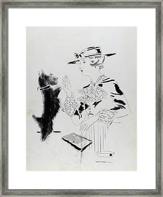 Illustration Of A Woman Feeding A Dog Framed Print by Jean Pages