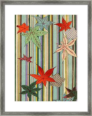 Illustration Of Autumn Leaves On A Striped Background Framed Print by Unknown