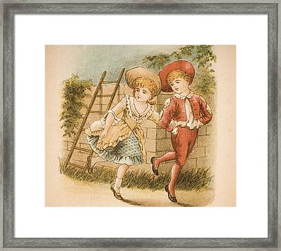 Illustration Of Girl And Boy From Old Framed Print by Vintage Design Pics