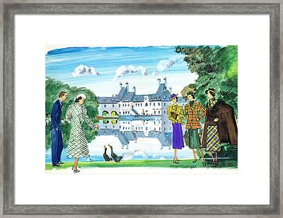 Illustration Of Man And Woman Feeding Ducks Framed Print