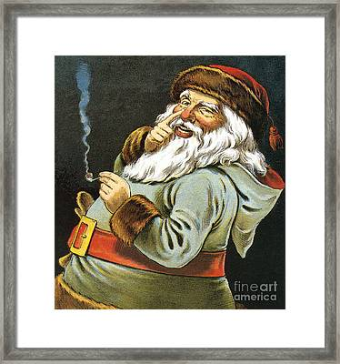 Illustration Of Santa Claus Smoking A Pipe Framed Print by American School