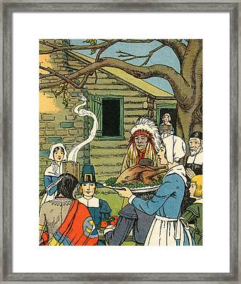 Illustration Of The First Thanksgiving Framed Print by American School