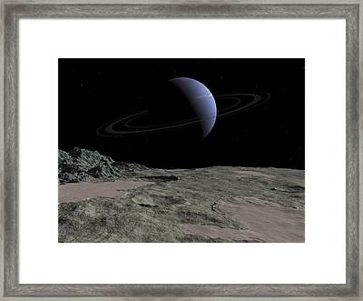Illustration Of The Gas Giant Neptune Framed Print by Walter Myers