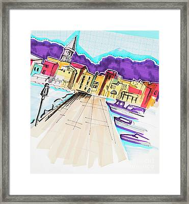 Framed Print featuring the drawing illustration of travel, Italy by Ariadna De Raadt