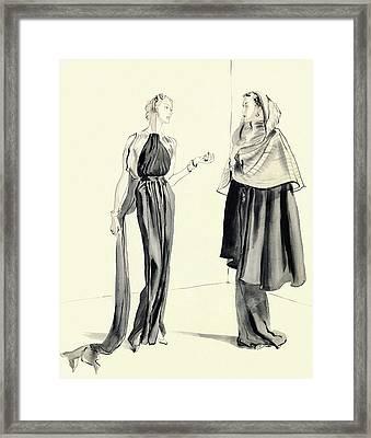 Illustration Of Two Women Framed Print