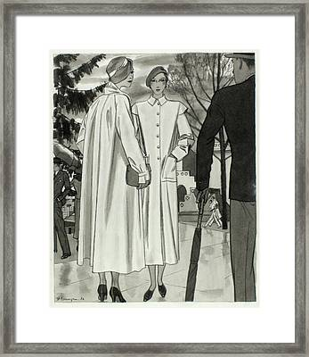 Illustration Of Two Women Wearing Coats Framed Print by Pierre Mourgue