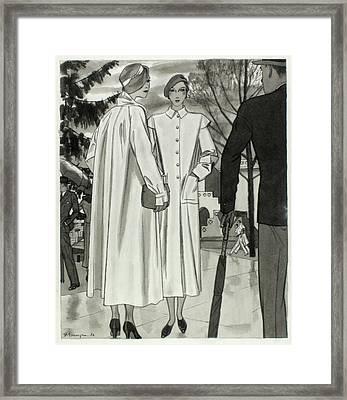 Illustration Of Two Women Wearing Coats Framed Print