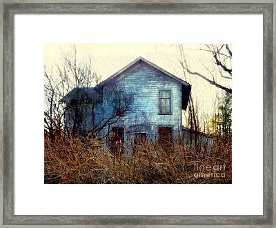 Framed Print featuring the photograph I'm Not Home Right Now, Please Leave A Message - Abandoned Farmhouse by Janine Riley