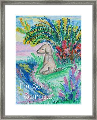 I'm So Sorry Pet Sympathy Framed Print by Diane Pape