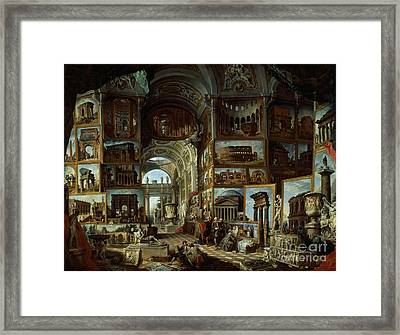 Imaginary Gallery Of Views Of Ancient Rome Framed Print by Giovanni Paolo Pannini