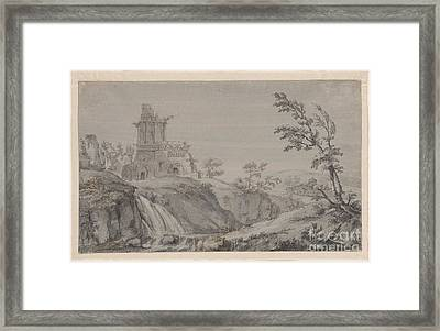 Imaginary Landscape With Classical Ruins Framed Print by MotionAge Designs