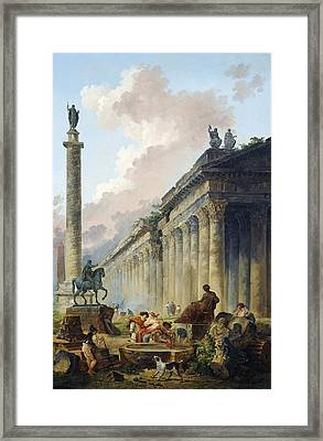 Imaginary View Of Rome With Equestrian Statue Of Marcus Aurelius - The Column Of Trajan And A Temple Framed Print by Mountain Dreams