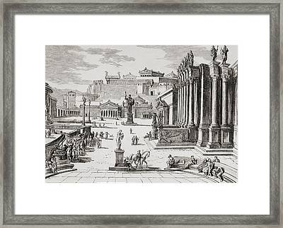 Imaginary View Of The Market Place In Framed Print