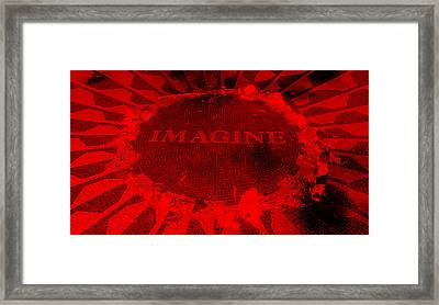 Imagine 2015 Negative Red Framed Print by Rob Hans