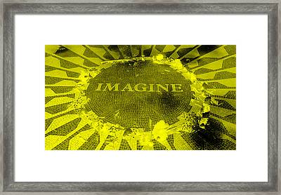 Imagine 2015 Negative Yellow Framed Print by Rob Hans