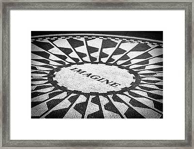 Imagine Black And White Framed Print