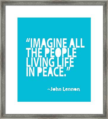 Imagine In Blue Framed Print