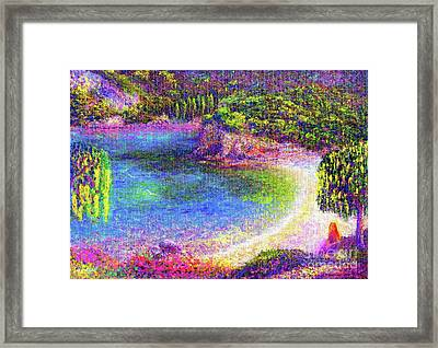 Imagine, Meditating In Beautiful Bay,seascape Framed Print