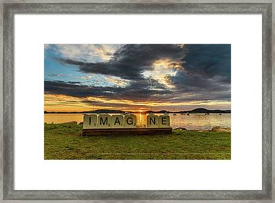 Imagine Sunrise Waterscape Over The Bay Framed Print