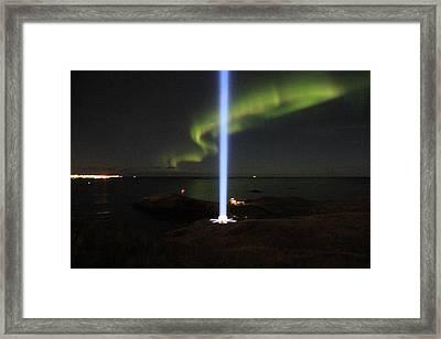 Imagine Tower Of John Lennon In Iceland Framed Print by Andres Zoran Ivanovic