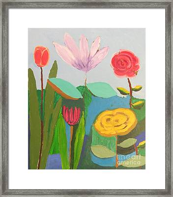 Framed Print featuring the painting Imagined Flowers One by Rod Ismay