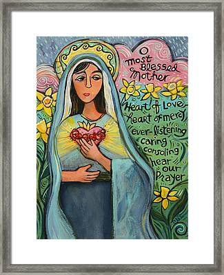 Immaculate Heart Of Mary Framed Print by Jen Norton
