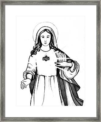 Framed Print featuring the drawing Immaculate Heart Of Mary by Mary Ellen Frazee