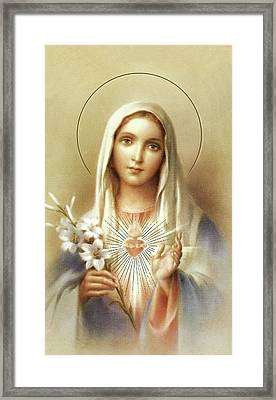Framed Print featuring the mixed media Immaculate Heart Of Mary by Movie Poster Prints