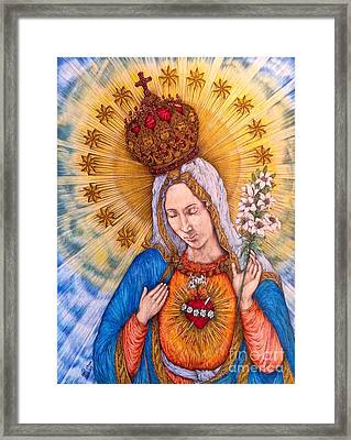 Immaculate Heart Of Virgin Mary Hand-drawn Framed Print