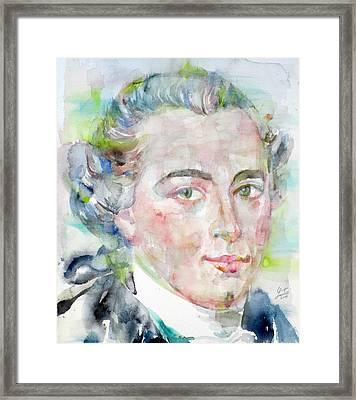 Immanuel Kant - Watercolor Portrait Framed Print