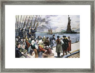 Immigrants On Ship, 1887 Framed Print by Granger